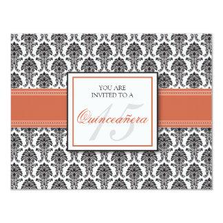 """ENGLISH Coral Damask Quinceanera Invitation 4.25"""" X 5.5"""" Invitation Card"""
