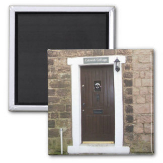 English Cottage Door 2 Inch Square Magnet