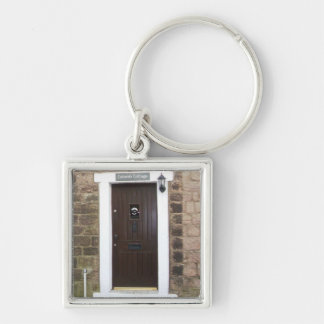 English Cottage Door Silver-Colored Square Keychain