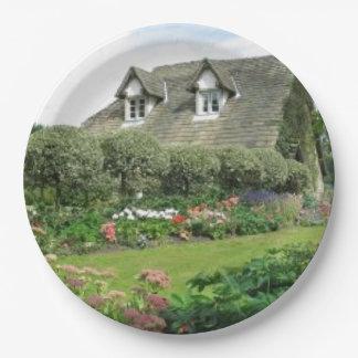 English Cottage Garden 9 Inch Paper Plate
