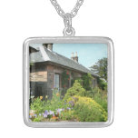 English Cottage II with Flower Garden Photography Silver Plated Necklace
