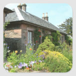 English Cottage II with Flower Garden Photography Square Sticker