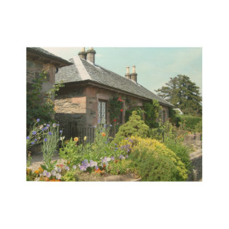 English Cottage II with Flower Garden Photography Wood Poster