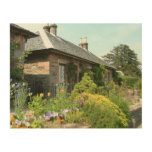 English Cottage II with Flower Garden Photography Wood Print