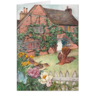 ENGLISH COTTAGE illustrated EASTER BUNNY Greeting Card