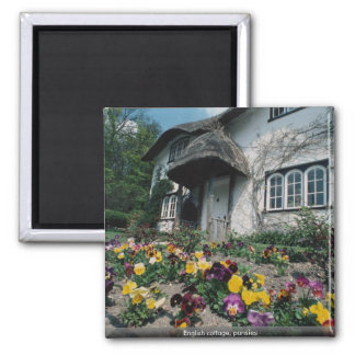 English cottage, pansies 2 inch square magnet