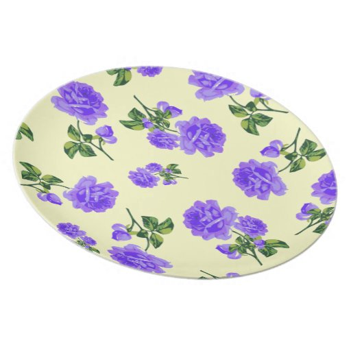 English cottage purple roses plate - cream