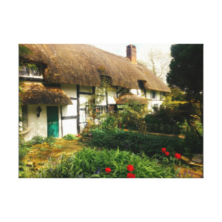 english cottage thatched and country garden canvas