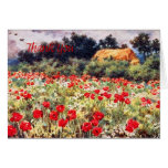 English Cottage w/ Poppies Thank You Card