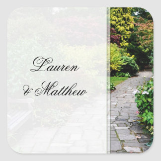 English country garden square sticker