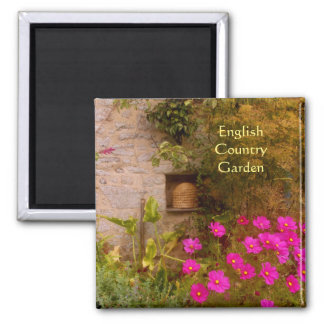 English Country House Garden in Summer 2 Inch Square Magnet