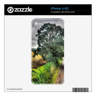 English Country Road & Field Nature Scene UK Skins For The iPhone 4