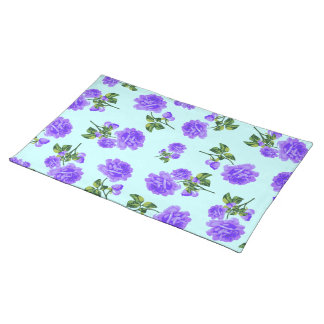English country roses purple blue cloth placemat