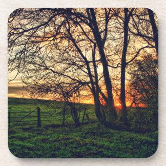 English Countryside Sunset HDR art coaster set