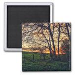 English Countryside Sunset HDR art fridge magnet