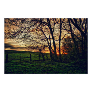 English Countryside Sunset HDR art poster print
