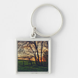 English Countryside Sunset HDR Keychain