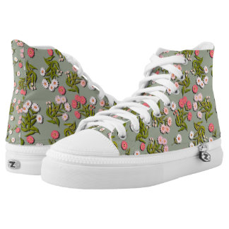 English Daisy Flowers High Top Sneakers Printed Shoes