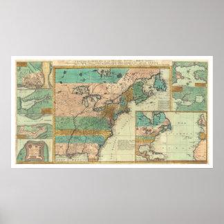 English Empire America Map - 1755 Poster