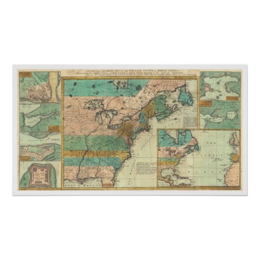 English Empire America Map - 1755 Poster