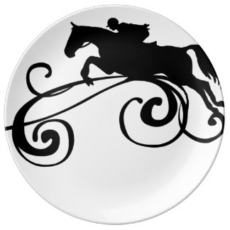 English Equestrian Flourish Dinner Plate