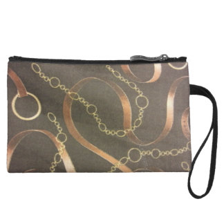 English Equestrian in Brown Wristlet Purse