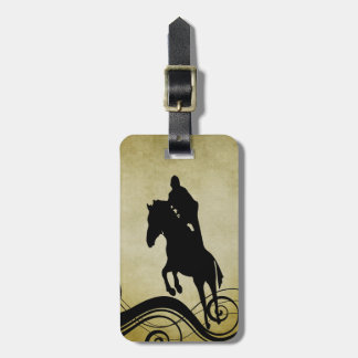 English Equestrian Vintage Style Horse Jumping Bag Tag