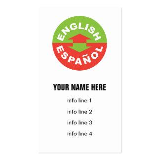 English Español bilingual symbol Business Card Templates