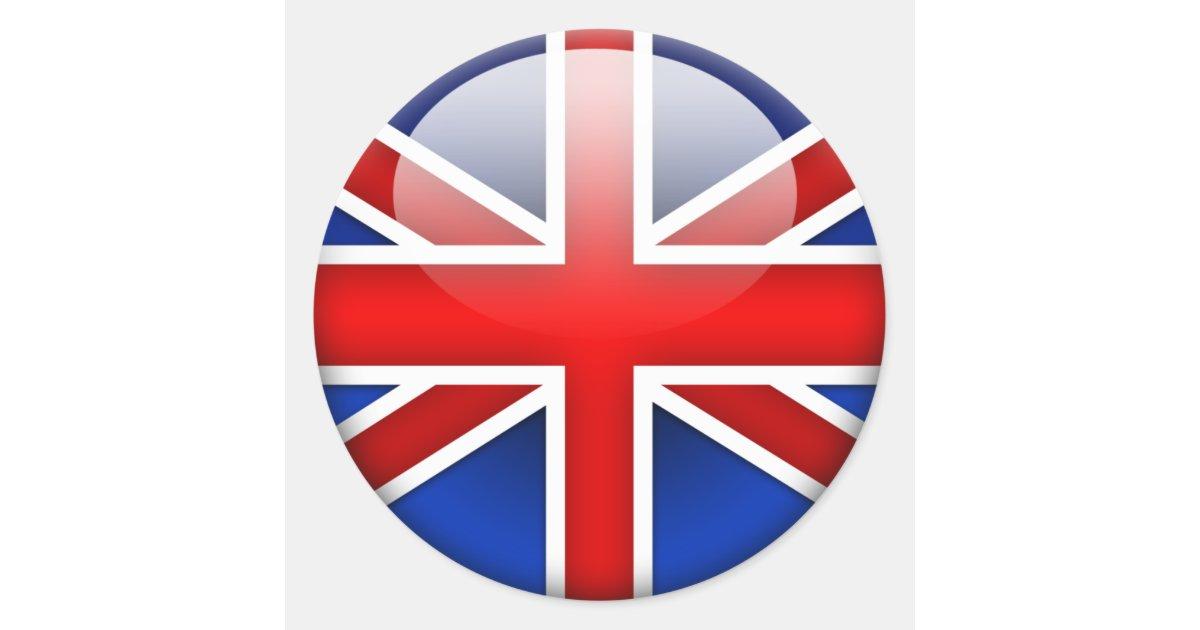 english flag 2 0 classic round sticker