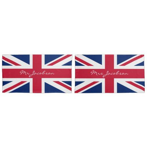 English Flag Custom Name Union Jack Patriotic Pillow Case