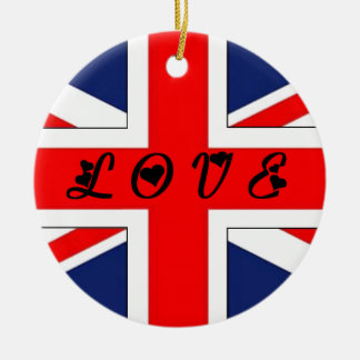 ENGLISH FLAG LOVE.png Ceramic Ornament