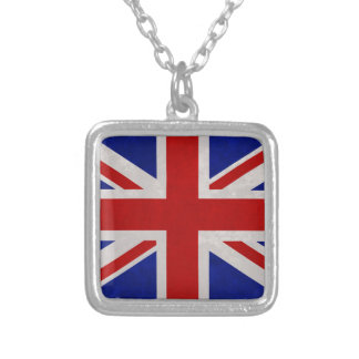 English flag of England textured Silver Plated Necklace