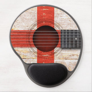 English Flag on Old Acoustic Guitar Gel Mouse Pad