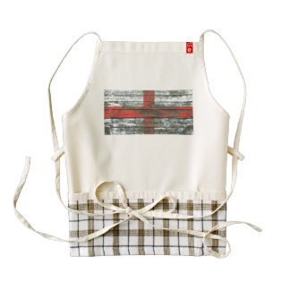 English Flag on Rough Wood Boards Effect Zazzle HEART Apron