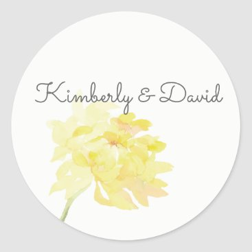 English Floral Garden Wedding Classic Round Sticker