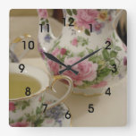 English Floral Teapot Teacup Wall Clcok Square Wallclock