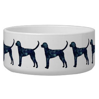 English Foxhound Black Watercolor Dog Silhouette Bowl