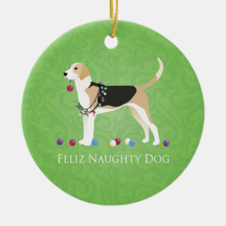 English Foxhound Christmas - Feliz Naughty Dog Ceramic Ornament