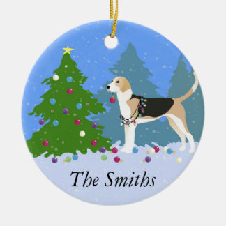 English Foxhound decorating Christmas Tree-forest Ceramic Ornament