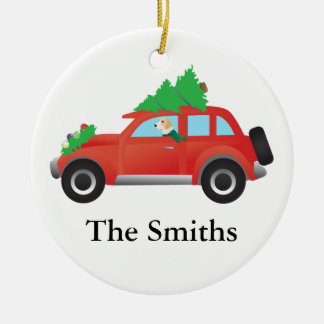 English foxhound dog driving car w/ Christmas tree Ceramic Ornament