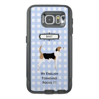 English Foxhound, Monogramed Blue Gingham S6 OtterBox Samsung Galaxy S6 Case
