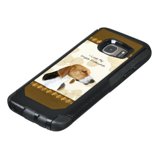 English Foxhound on Tan Leaves & Brown Pawprints OtterBox Samsung Galaxy S7 Case