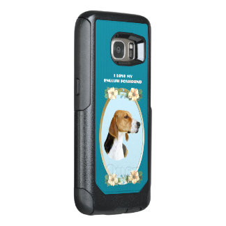 English Foxhound on Teal Floral OtterBox Samsung Galaxy S7 Case