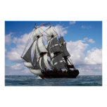 English frigate in fair weather poster