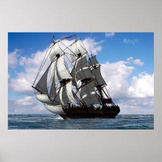 English frigate in fair weather print