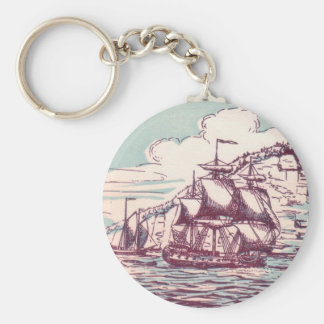 English frigate off the Canadian coast Basic Round Button Keychain