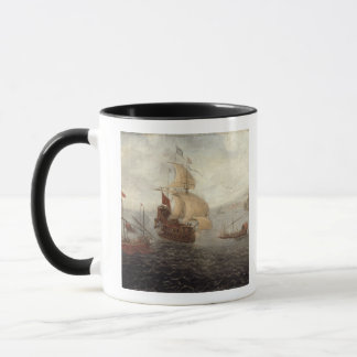 English Galley Frigate Flanked by Ottoman State Ba Mug