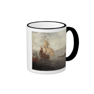English Galley Frigate Flanked by Ottoman State Ba Ringer Mug