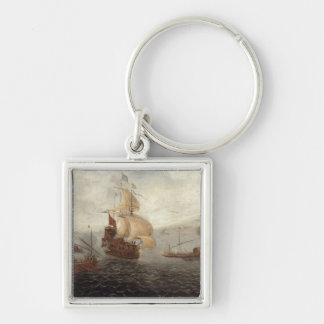 English Galley Frigate Flanked by Ottoman State Ba Silver-Colored Square Keychain