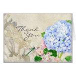 English Garden, Blue n Pink Hydrangeas Watercolor Stationery Note Card